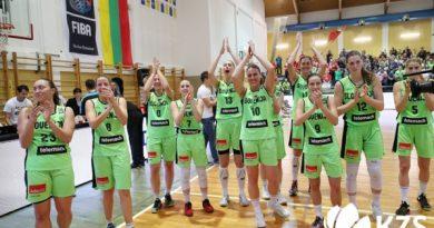 Slavje košarkarice po zgodovinskem uspehu. Foto: KZS.