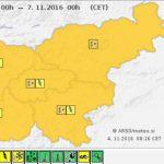 Konec sončne jeseni (za zdaj); za vikend močan dež in nevarnost poplav