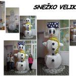 Da bi priklicale sneg, so učenke I. OŠ Celje iz papirja izdelale snežka velikana