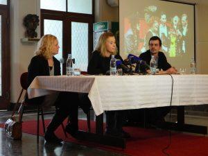 Tina Kosi, Tatjana Doma in Gregor Potokar so predstavili program Dnevi komedije 2017.