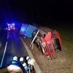 Ponoči se je pri Videžu prevrnilo tovorno vozilo; poginilo 5 govedi