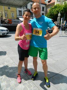 Rekorderja Sabina Friedrich in Iztok Koštomaj.