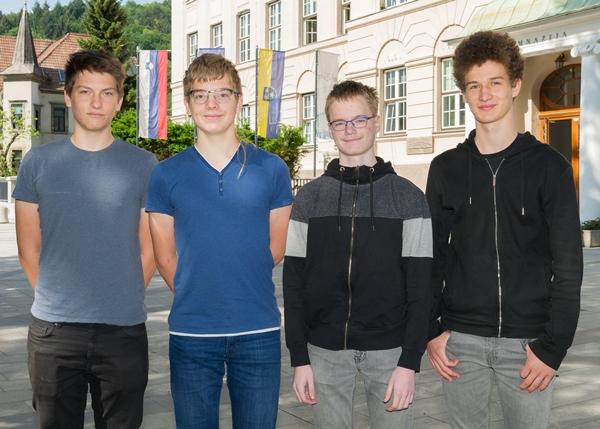 Državni prvaki z leve: Gal Zmazek, Lovro Drofenik, Luka Horjak in Jaka Vrhovnik