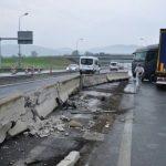 Nesreča tovornjaka na cestninski postaji postaji Tepanje (foto)