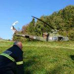 Helikoptersko reševanje pri Dramljah (foto) in Šoštanju, zagorela gnojevka