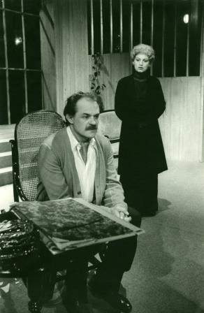 Janez Bermež in Anica Kumer v predstavi Stavbenik Solness (Henrik Ibsen), Slovensko ljudsko gledališče Celje, 1985/86