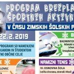 Brezplačne športne aktivnosti v času zimskih počitnic v Celju – program