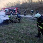 Gozdni požar, ogenj uničil avto (foto), reševanje iz dvigala
