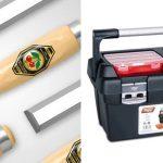 Mizarsko orodje priznanih blagovnih znamk in kovček za hranjenje orodja