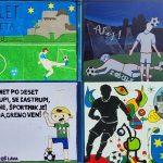 Nogometaše ob začetku EURA U21 v mestu pozdravljajo plakati celjskih otrok (foto)